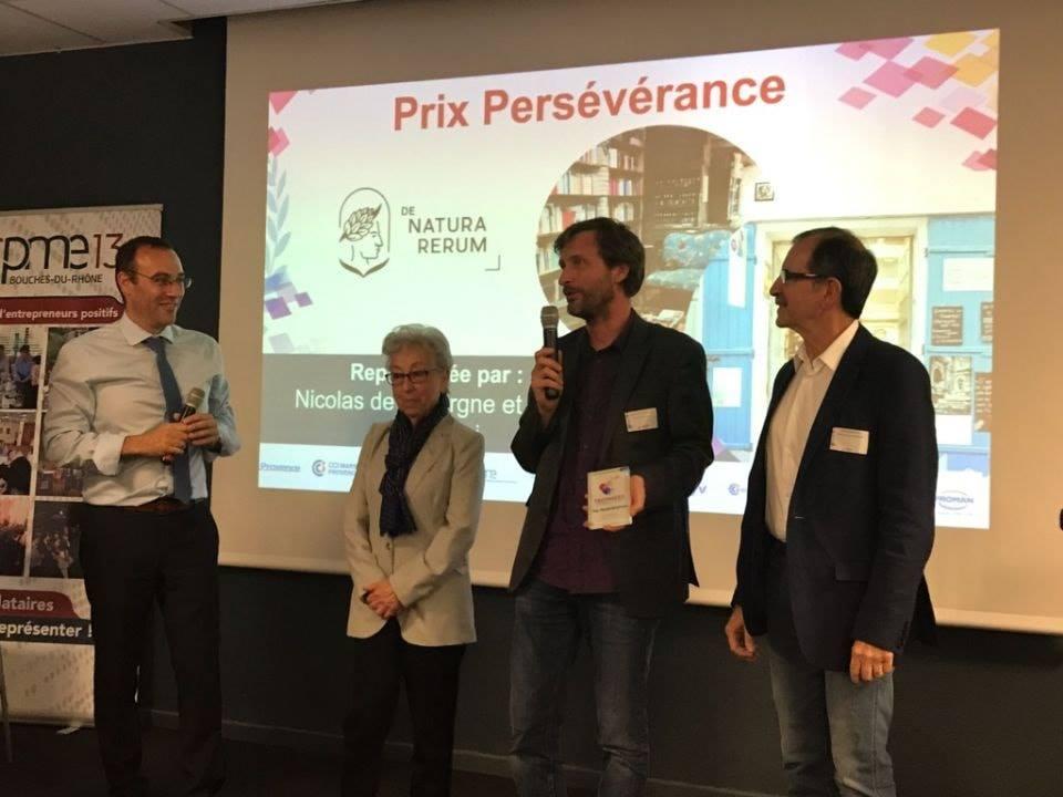 Trophées des entrepreneurs positifs cpme13 : prix persévérance pour De natura rerum