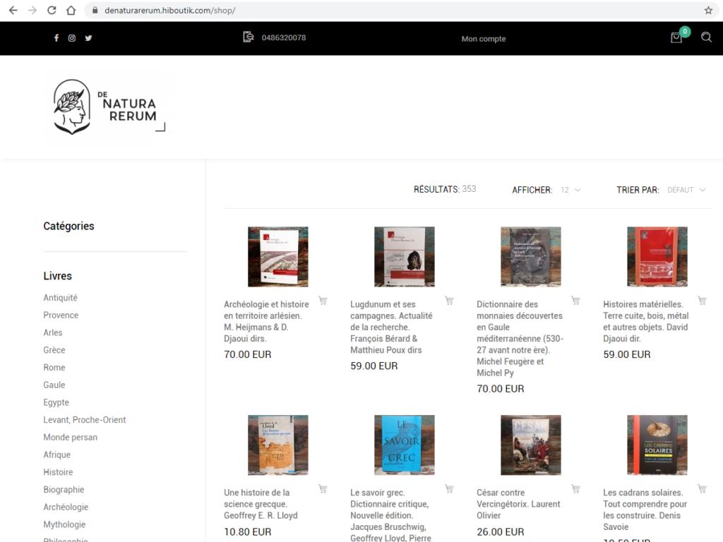 De natura rerum, boutique en ligne